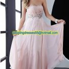 2012 Strapless Pink Chiffon Ruffled Beaded Evening Dress Party Dress Prom Dress Z