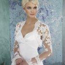 White Ivory Lace Beaded Long Sleeves Wedding Bolero Jacket Custom Made Brida Shawl Jk28