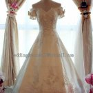 2012 New Style Short Sleeves White Ivory Satin Lace Applique Beaded Bridal Gown wedding dress CS18