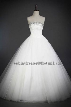 2012 New Style Strapless White Ivory Tulle Pleat Beaded Bridal Gown wedding dress CS20