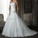 2012 New Style Strapless White Ivory Chiffon Pleat Applique Beaded  Bridal Gown wedding dress 306