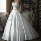 2012 New Style Strapless White Ivory Satin Pleat Beaded Bridal Gown wedding dress 312