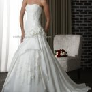 2012 Strapless White Ivory Satin Taffeta Pleat Aplique Beaded Bridal Gown wedding dress 314