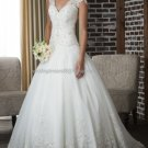 2012 Double Straps White Ivory Organza Lace Aplique Bridal Gown wedding dress 321
