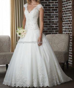 2012 Double Straps White Ivory Organza Lace Aplique Bridal Gown wedding dress 321