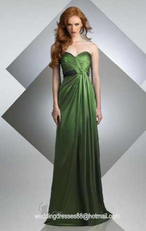 2012 Hot Sale Strapless Green Stretch Satin Black Belt Pleat Bridesmaid Dress Evening Dress
