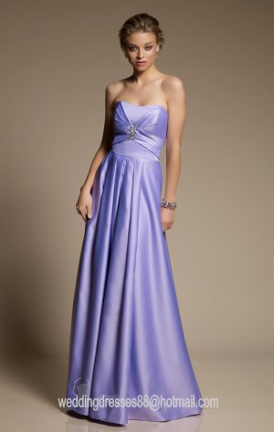 2012 Hot Sale Strapless Purple Satin Pleat Beaded Bridesmaid Dress Evening Dress
