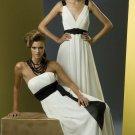 2012 Hot Sale Strapless White Chiffon Black Belt Pleat Bridesmaid Dress Evening Dress