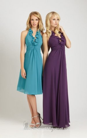 2012 Hot Sale Halter Blue Purple Chiffon Pleat Full Length Bridesmaid Dress Evening Dress