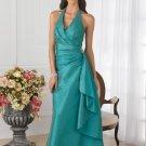 2012 Hot Sale Halter Green Taffeta Pleat Beaded Bridesmaid Dress Evening Dress