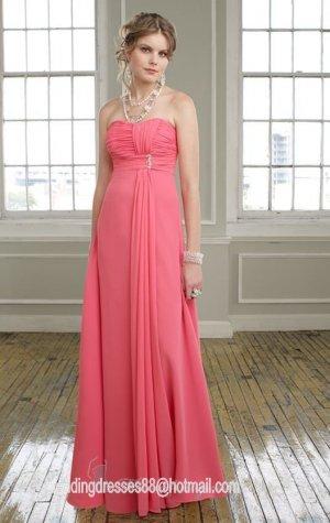 2013 Hot Sale Strapless Pink Red Purple Chiffon Pleat  Bridesmaid Dress Evening Dress Party Dress
