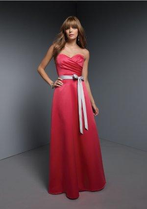 2013 Hot Sale Strapless Red Satin Silver Belt Pleat Bridesmaid Dress Evening Dress Party Dress