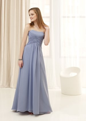 2013 Hot Sale Strapless Little Blue Chiffon Pleat Bridesmaid Dress Evening Dress Party Dress