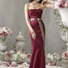 2013 Strapless Red Satin Champagne Belt Pleat Beaded Bridesmaid Dress Evening Dress Party Dress