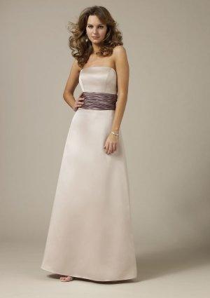 2013 Strapless Ivory Satin Coffee Belt Pleat Bridesmaid Dress Evening Dress Party Dress