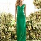 2013 Hot Sale Double Straps Green Stretch Satin Pleat Bridesmaid Dress Evening Dress Party Dress
