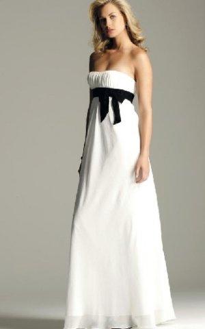 2013  Strapless White Chiffon Black Belt Pleat Empire Bridesmaid Dress Evening Dress Party Dress