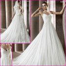 2013 Double Spaghetti Chiffon Pleat a-Line Wedding Dress A134