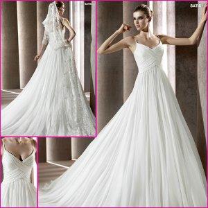 2013 Double Spaghetti Chiffon Pleat a-Line Wedding Dress A134