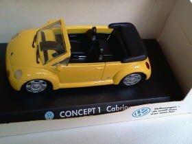 Volkswagen Concept 1 Cabrio 1994 open yellow 1/43 die cast model car (Rare)