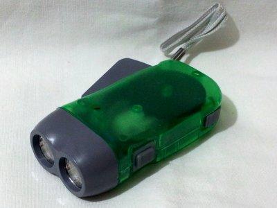 Hand Pressing Flash Light (2 LED) Green