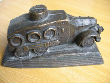 Japan Military Road/Railway Armoured Style 91 Vehicle Bronze Model in 1931 (Super Rare)