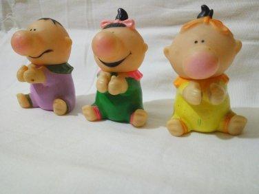 Three Plastic Funny dolls 65mm Tall