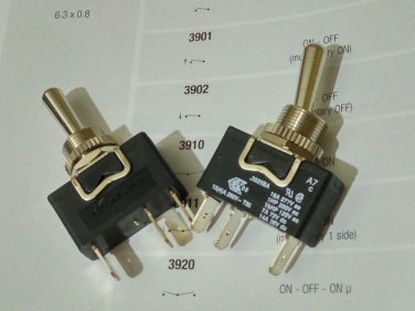 Arcolectric Metal Toggle Switches 16A 250Vac Single Pole (black) (Lot of 2 pcs)