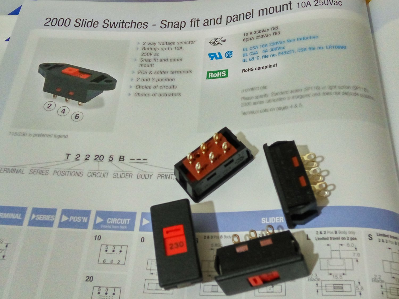 Arcolectric Slide Switch 10A 250Vac (Lot of 4 pcs)