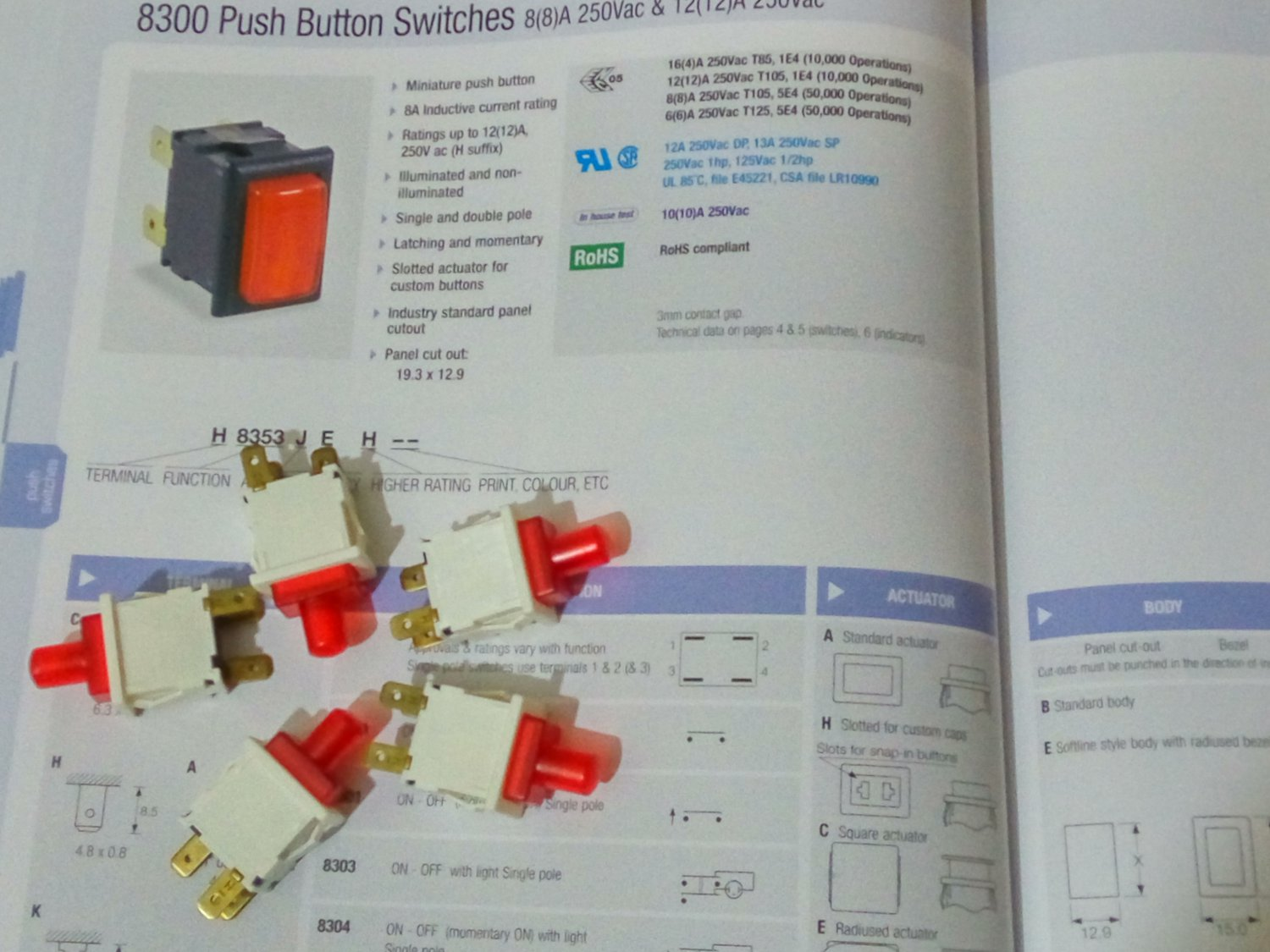 Arcolectric Push Button Switches On-Off w/Light Single Pole 8(8)A 250Vac (Red White) (Lot of 5 pcs)