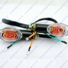 2x Motorcycle Oval Turn Signal Light Indicator Blinker Bulb Mini Amber Black