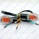 4x Motorcycle Oval Turn Signal Light Indicator Blinker Bulb Mini Amber Black
