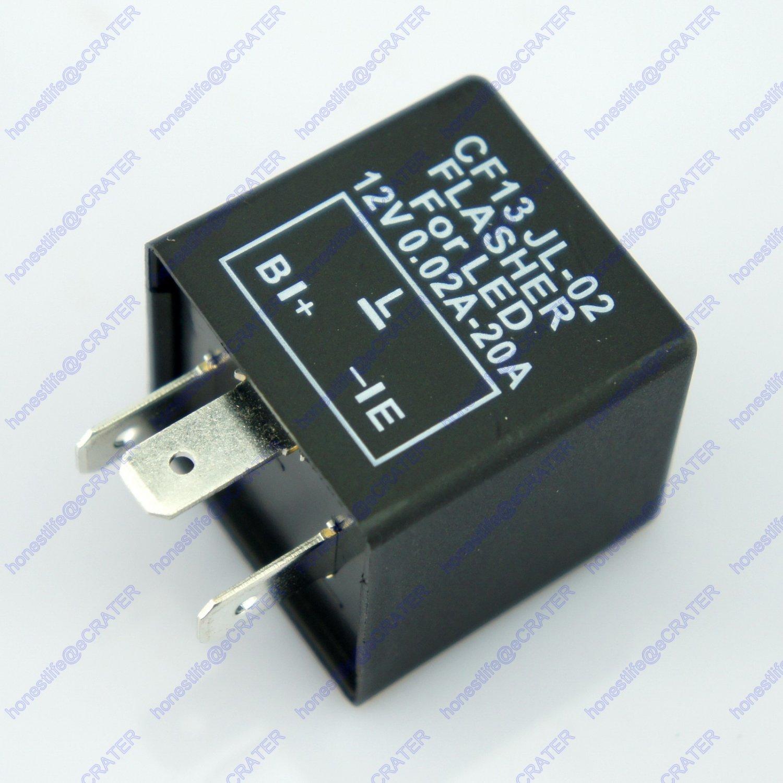 3 Pin Car Turn Signal Indicator Flasher Relay Fix LED Hyper Flash CF13 JL02 EP34