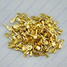 100 6.3mm Female Brass Terminal With Tap For Block Connector 20-12 AWG Wire Car