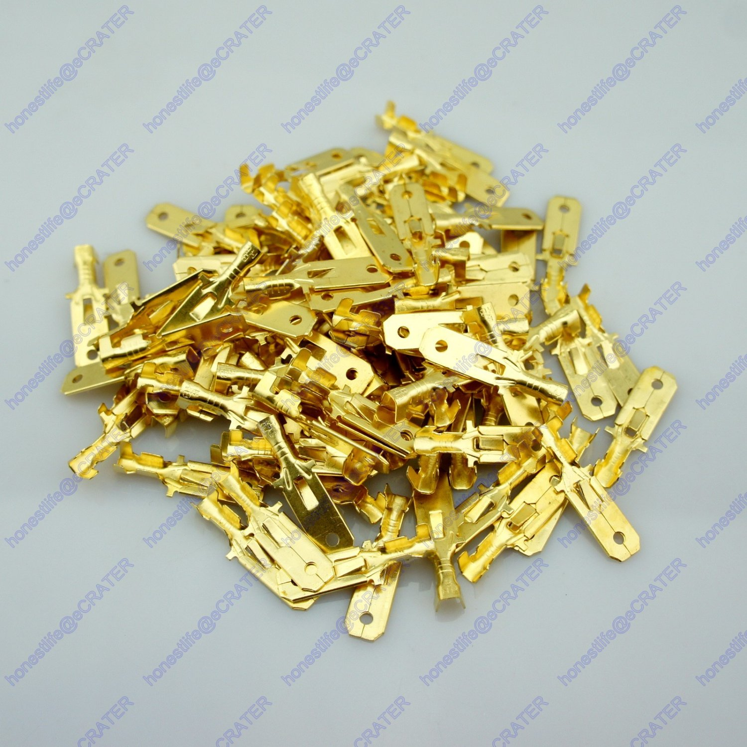 100 6.3mm Male Brass Terminal With Tap For Block Connector 20-12 AWG Wire Car