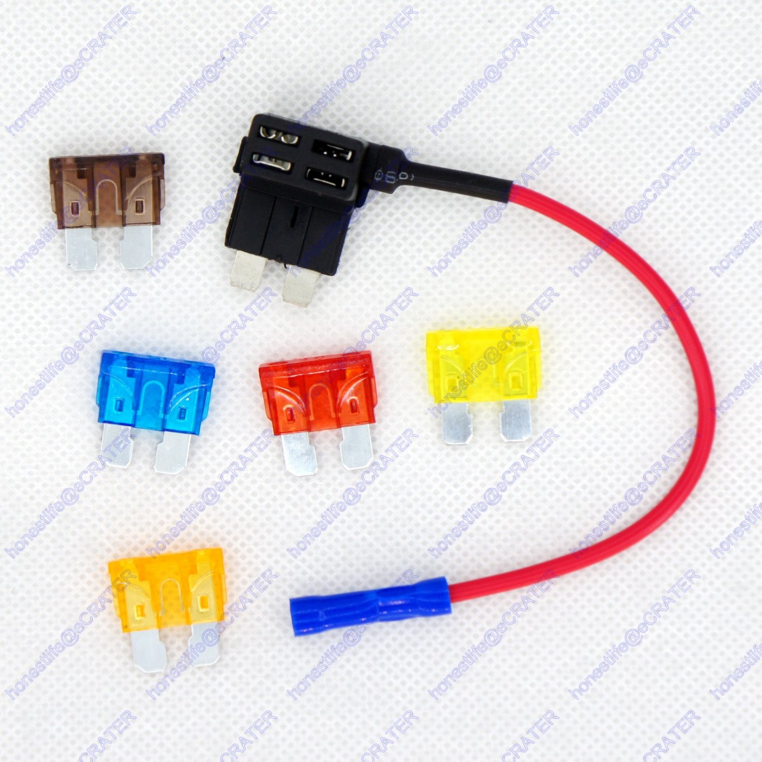 12/24V Regular ATO ATC Blade Fuse Holder Tap Dual Add a Circuit Vehicle 5 Fuses
