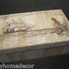 Nice 18th C Antique Style Folk Art Mermaid Scrimshaw Bone & Wood Trinket Box