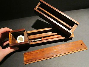 Antique Style Traveling Wood Swing Open Writing Box Inkwel Turned Pen Desk Set