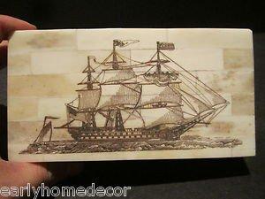 Nice 18th C Antique Style Folk Art Sail Ship Scrimshaw Bone & Wood Trinket Box