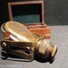 Antique Style Solid Brass Traveling Telescope Binoculars Monocular Wood Box Set