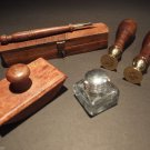 Antique Vintage Style Writing Collection Wood Pen Wax Seals Inkwell SET