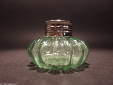 Vintage Antique Style Round Solid GREEN Thick Glass Inkwell Ink pot Bottle
