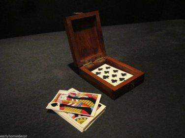 Antique Style Pluribus Unim Eagle Wood Playing Card Box American Rev War