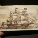 Antique Style Folk Art Sail Ship Scrimshaw Bone & Wood Trinket Box