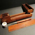 Antique Style Wood Slide Lid Swing Open Writing Box Inkwell Pen Desk Set