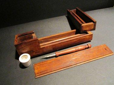 Antique Style Wood Slide Lid Swing Open Writing Box Inkwell Pen Desk Set