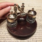 Vintage Antique Style Gold Brass Hardwood w 2 Clear Glass Inkwell bottles pots