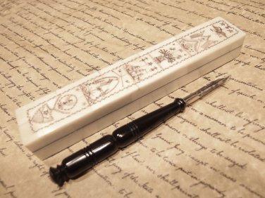 Antique Style Folk Art Americana Scrimshaw Bone & Wood Pen Box w Horn Dip Pen