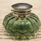Vintage Antique Style Round Green Glass Thick Glass Inkwell Ink pot Bottle