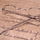 Antique Style, Small Reading Eyeglasses +125  Sliding Bow Silver Brass Rev War
